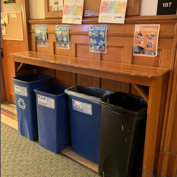 bins in campus buildings (Macky)