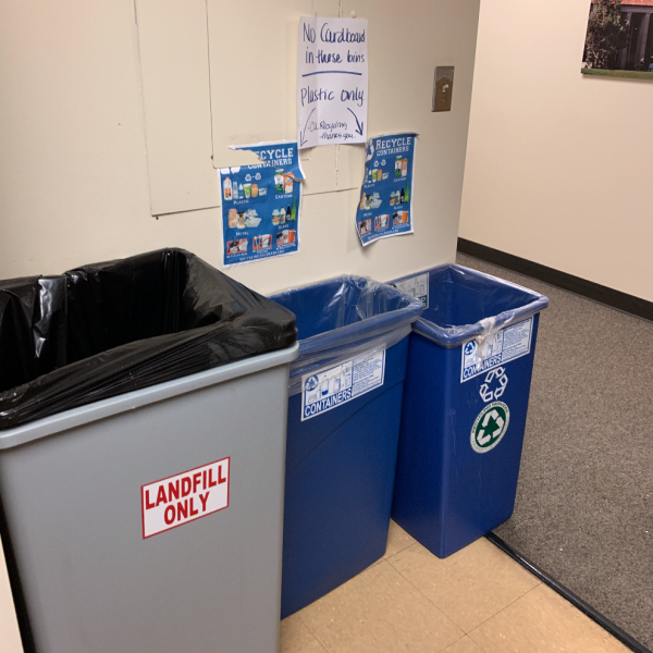 example of free standing bins in campus buildings