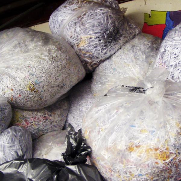 Bags of shredded paper