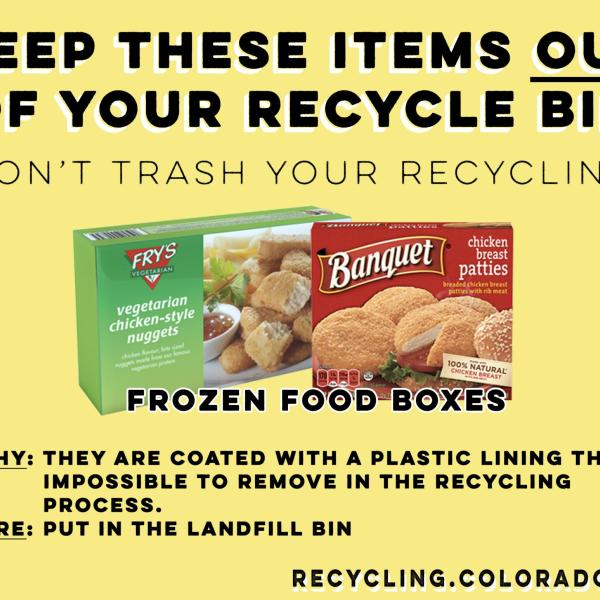 Frozen food boxes are not recyclable.