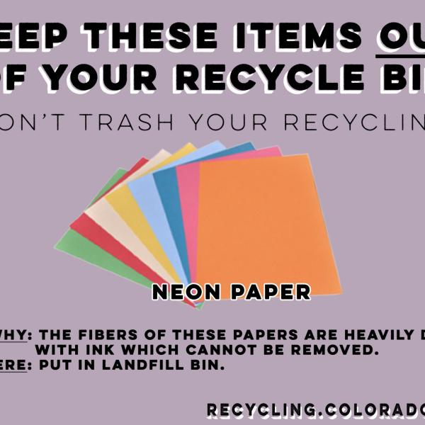 Neon paper is not recyclable because of its heavy dyes.