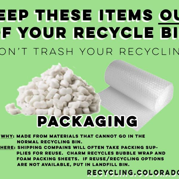 Packing peanuts and bubble wrap are not recyclable.