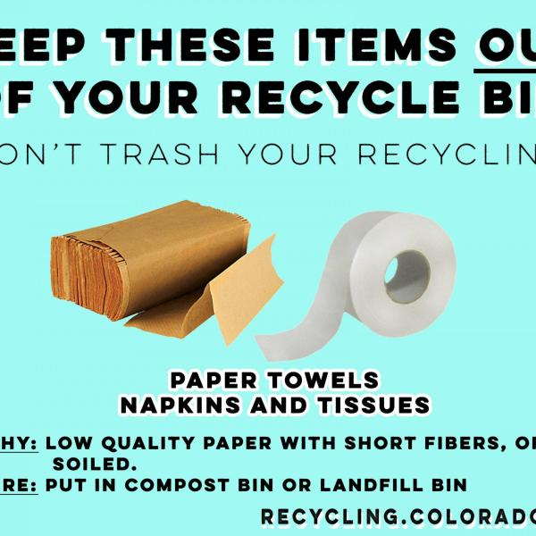 Paper towels and napkins should not go into recycling.