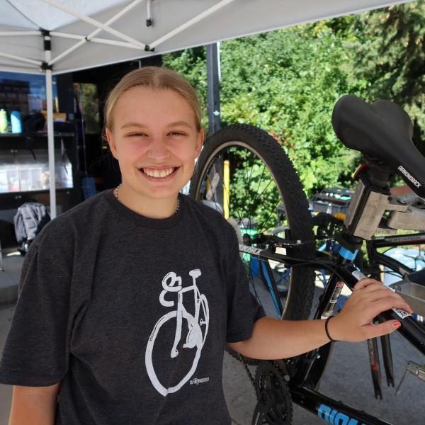 Anna at the bike station.