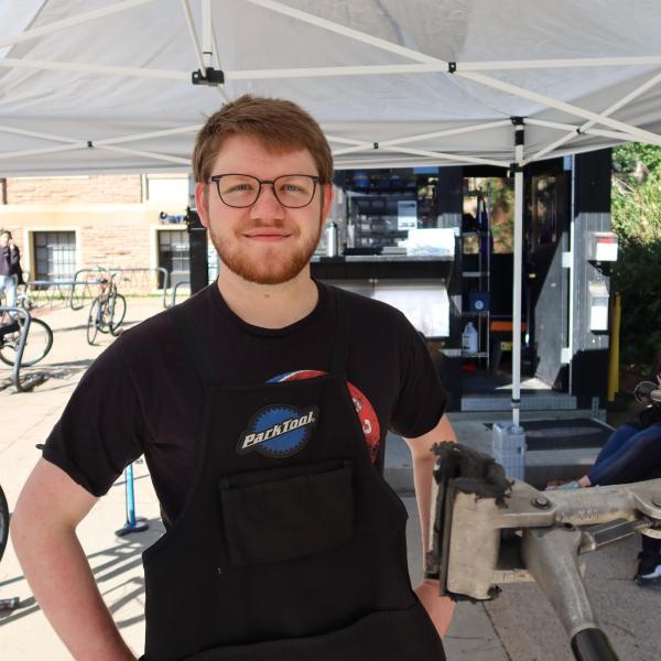 Samuel at the bike station.
