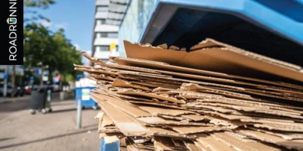 Flattend boxes in a recycling bin