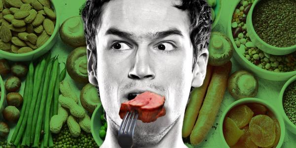 Guy eating meat with veggies