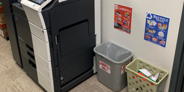 small bins with posters