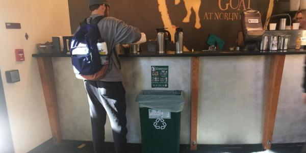 Laughing Goat Coffee Bar Compost bin located in Norlin Commons