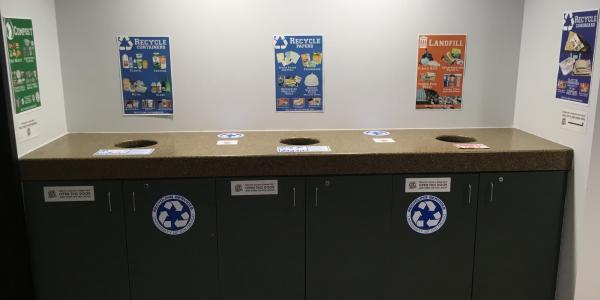 Posters above bin cabinets in UMC