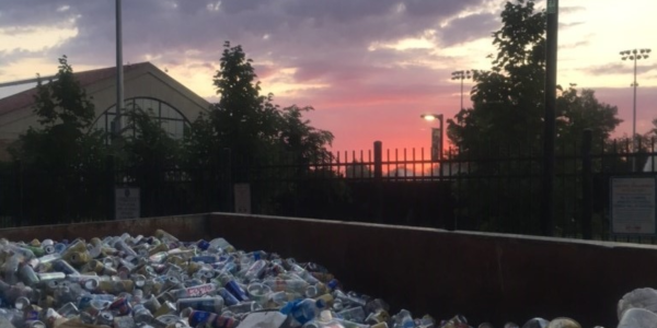 sunset over garbage