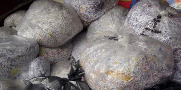 Shredded paper in plastic bags
