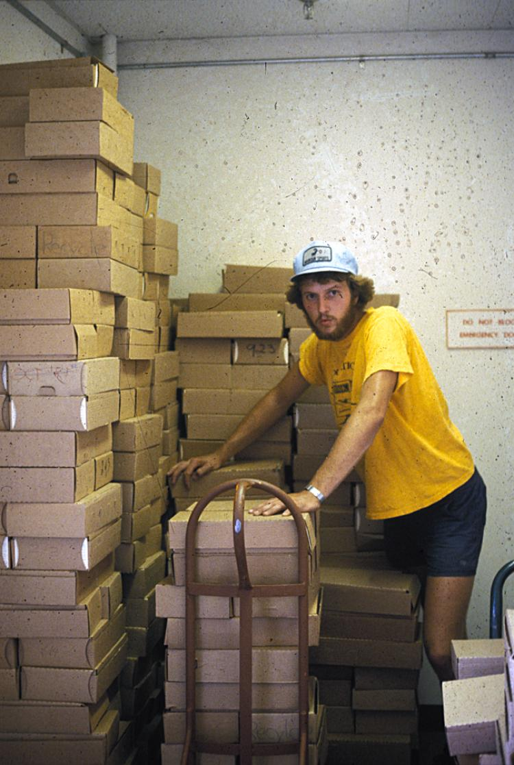 Jack Debell and a lot of boxes