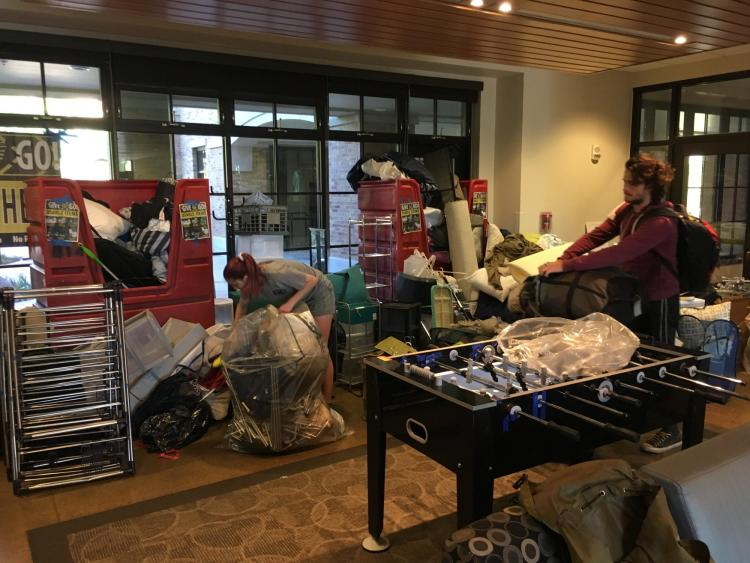 staff collect a variety of donation items