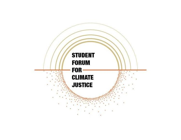 Student Forum for Climate Justice Logo, Circular dots and arches