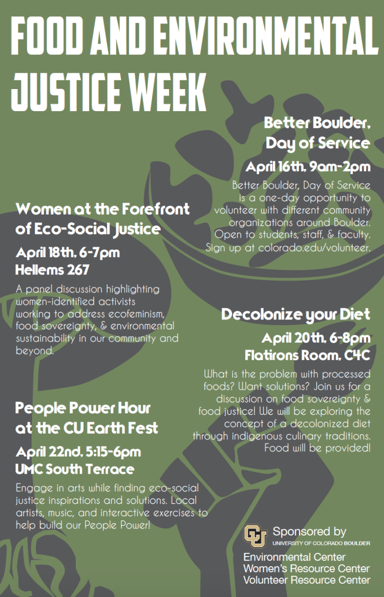 Poster for the events for Food & Environmental Justice, 2016