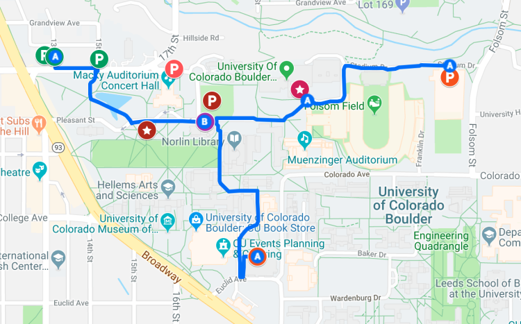Map of event buildings and parking options