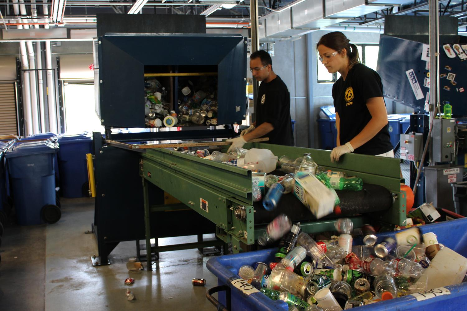 Students Sort materials on the Containers line
