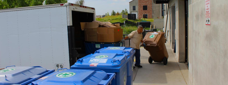 Fac Man crews emptying recycling