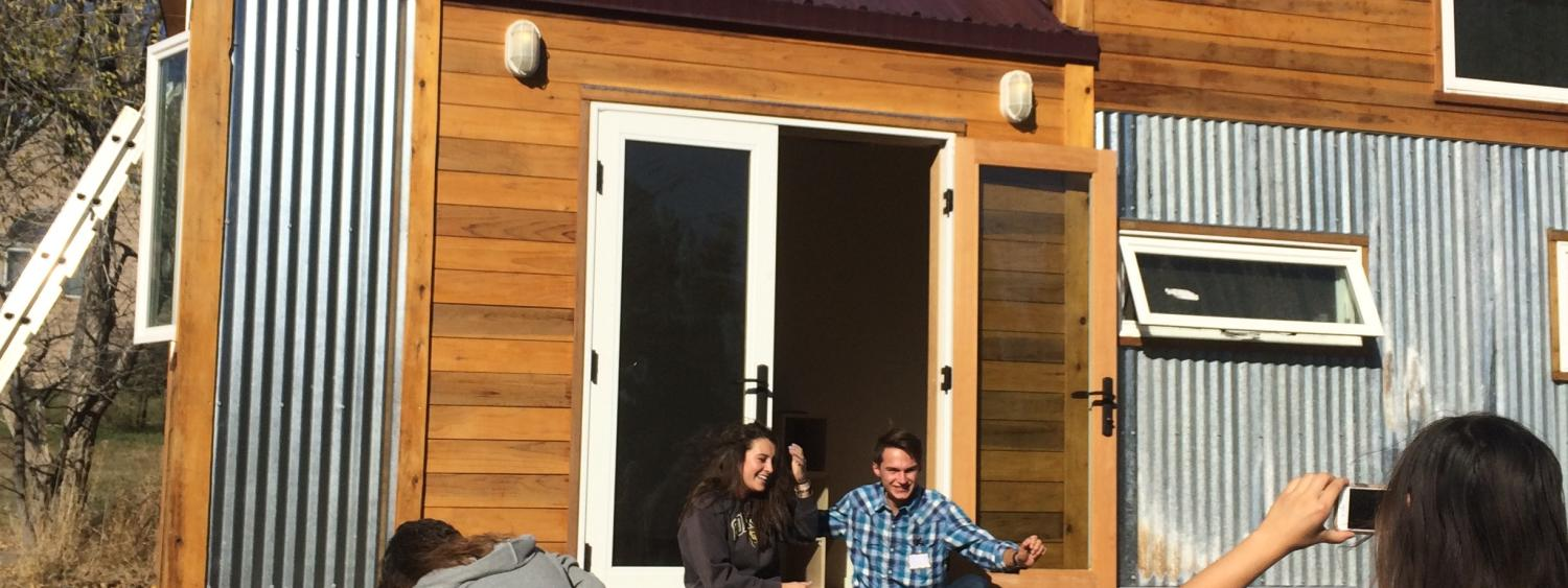 Students at a tiny home