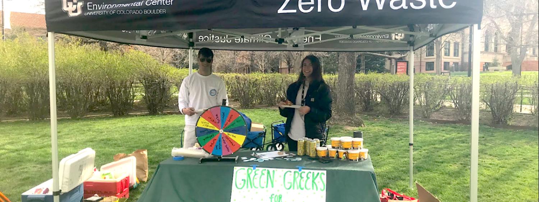 photo of members of Green Greeks tabling