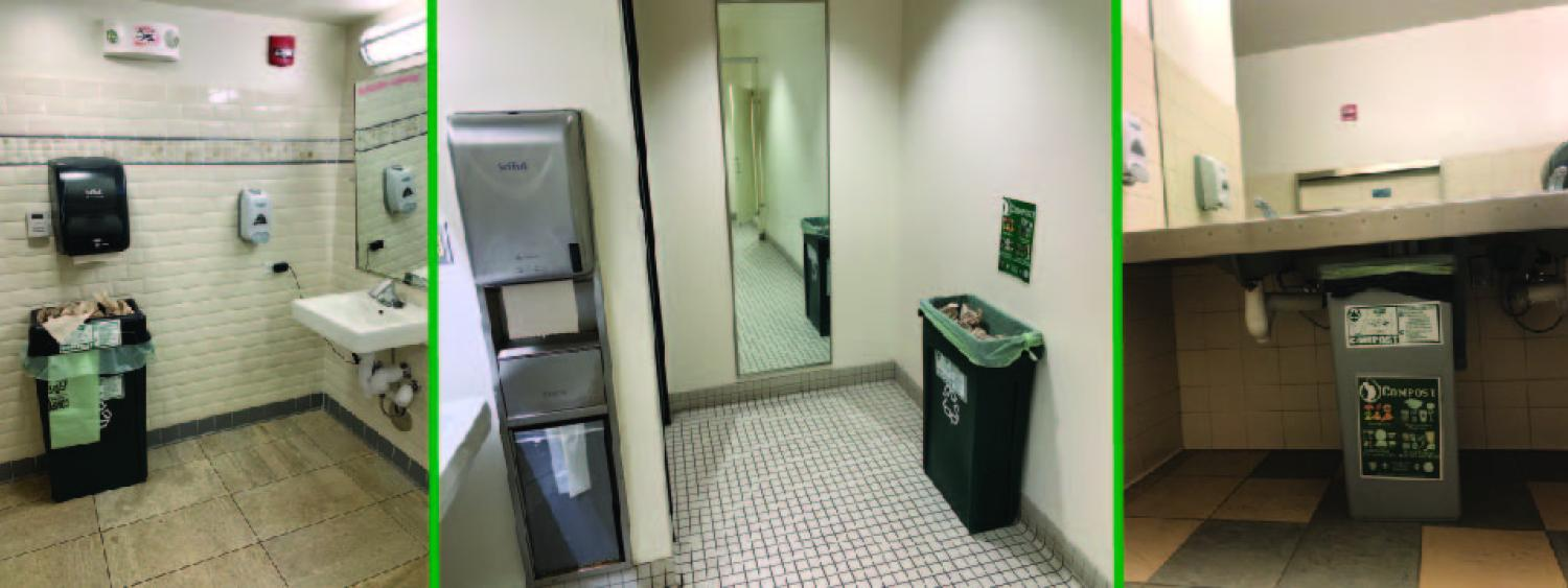 compost bins in bathrooms