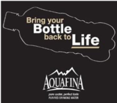 Aquafina 'bring your bottle back to life' graphic