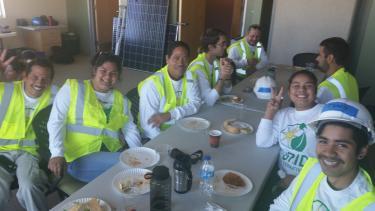 FLOWS participants do a solar installation training, November 2016