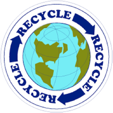 blue recycle sign with arrows surrounding a picture of the Earth