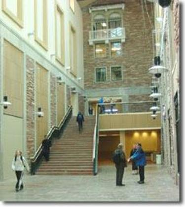 Atrium of CU BioEngineering building
