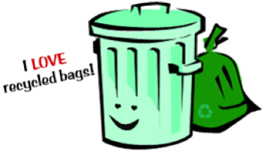 """trash bin with the quote """"I love recycled bags!"""""""