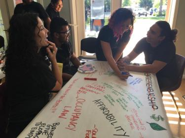 Photo of CU students and community members brainstorming solutions to Boulder's environmental and social equity issues
