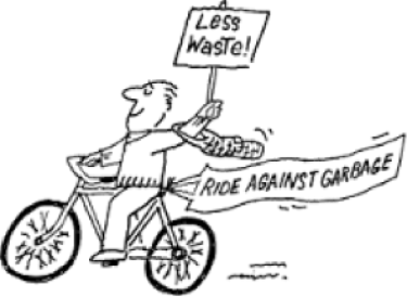 """man riding bike with a sign that says """"less waste"""""""