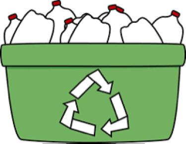 green recycling bin with empty milk cartons in it
