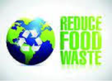 """""""reduce food waste"""" with picture of Earth containing the 3 arrow RRR symbol"""