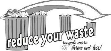 """""""reduce your waste"""" with 3 trash bins"""