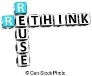 """""""rethink and reuse"""" sign"""