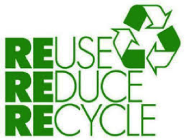 green Reduce Reuse Recycle sign with RRR symbol