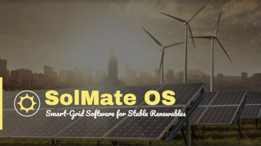 """Powerpoint slide titled """"SolMate OS"""" with wind and solar energy generation as a background"""