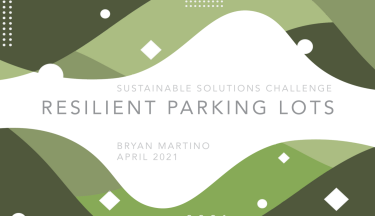 """A stylish green powerpoint slide reading """"Resilient Parking Lots"""""""