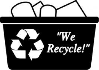 """black and white recycling bin that says """"we recycle"""""""