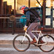 a bike commuter in winter