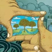 Illustration of hands around trees