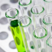 Test tubes containing green liquid