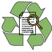 recycle logo with magnifying glass