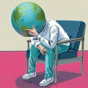 Man with world head