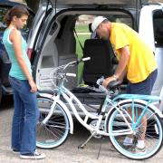 unloading bike from car