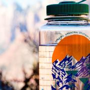 a nalgene waterbottle with Zion national park in the background