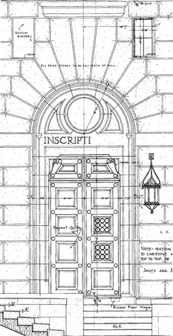 Memorial Door Plan Detail from Original Blueprint