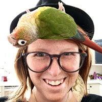 Kyle O'Keefe with her pet bird